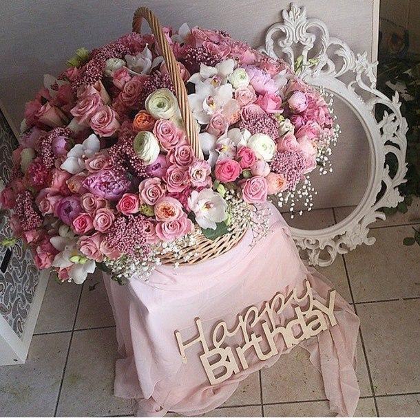 Открытка с букетом цветов ко дню рождения 890