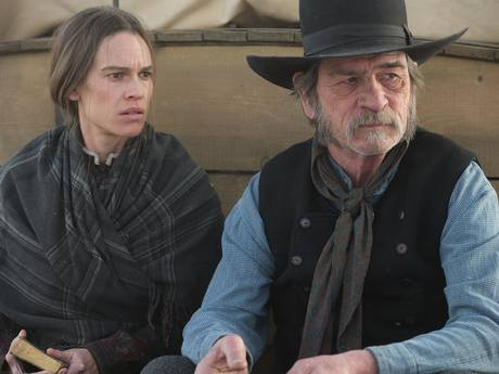 Swank in The Homesman with Tommy Lee Jones (Film still from the movie The Homesman/Downloaded from Panther)