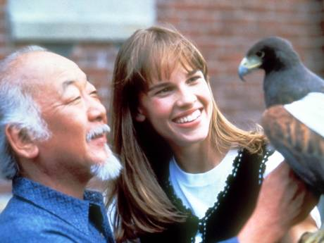 Hilary Swank and Pat Morita in The Next Karate Kid (Moviestore Collection/REX)