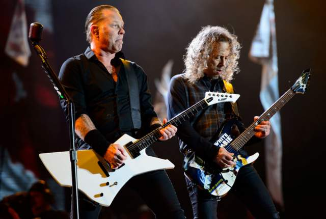 James Hetfield, left, and Kirk Hammett and their band Metallica