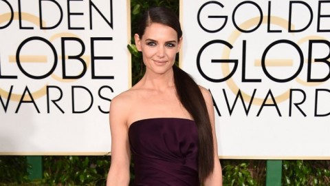 Katie Holmes Looks Sleek With Extra Long Ponytail At The 2015 Golden Globes