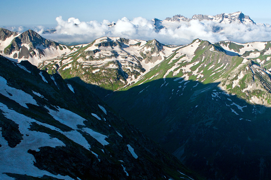 Western Caucasus mountains: pointed peaks, powerful waterfalls, deep caves....