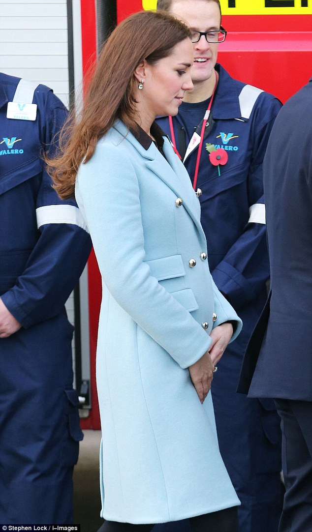 Feeling better Duchess? No hint of morning sickness as Kate Middleton shows off healthy glow and her bump during refinery tour with Prince William