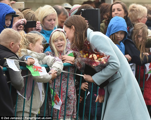 She joked and laughed with children outside the Valero Pembroke Refinery on the Pembrokeshire coast
