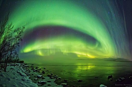 Northern lights in the sky over Murmansk region