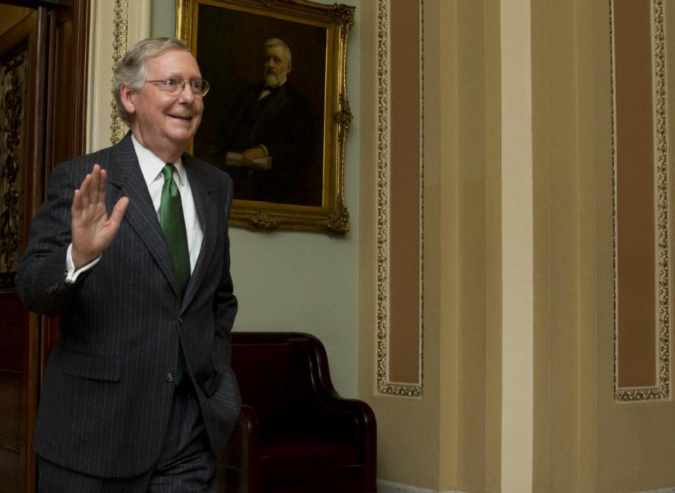 Senate Majority Leader Mitch McConnell, R-Ky., leaves the Senate floor on Capitol Hill in Washington, Monday, Feb. 23, 2015, following a cloture vote....