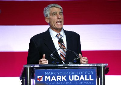 Sen. Mark Udall, D-Colo., speaks during a rally urging voters to re-elect him, on the campus of Colorado State University, in Fort Collins, Colo., Thursday, Oct. 23, 2014. (AP Photo/Brennan Linsley)