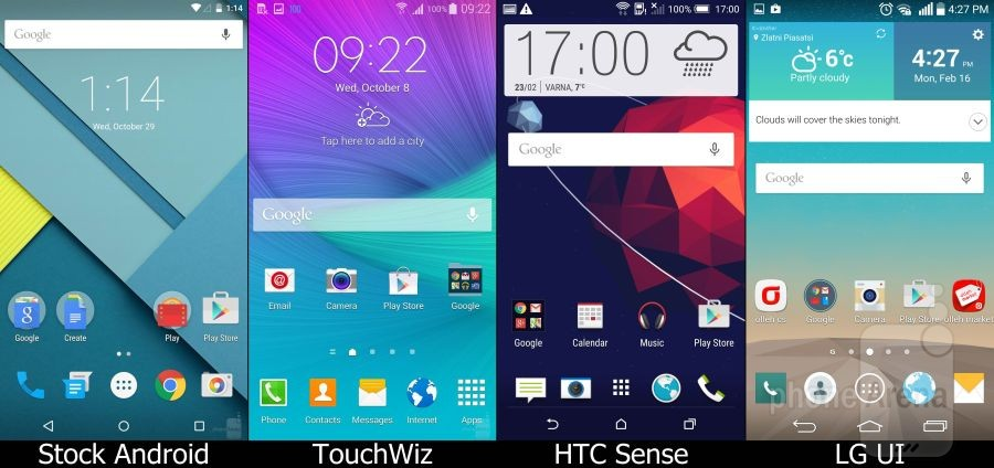 Stock Lollipop vs Samsung TouchWiz vs HTC Sense vs LG UI