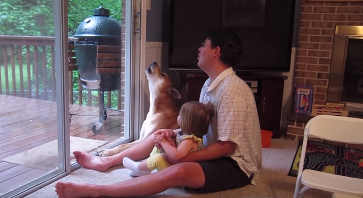 Baby And Daddy Teach Dog To Howl
