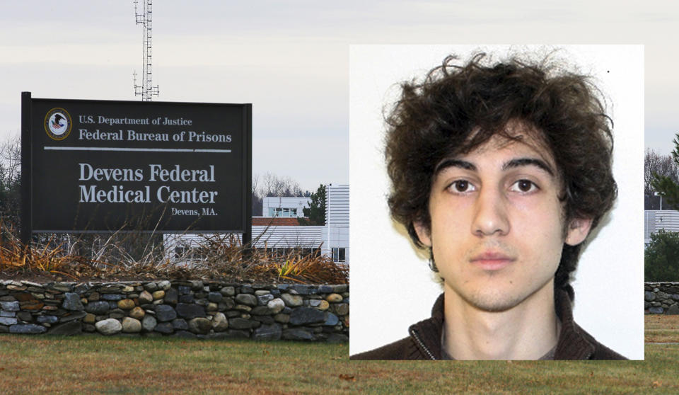 Boston Marathon bombing survivor waves fake leg at Dzhokhar Tsarnaev supporters outside courthouse