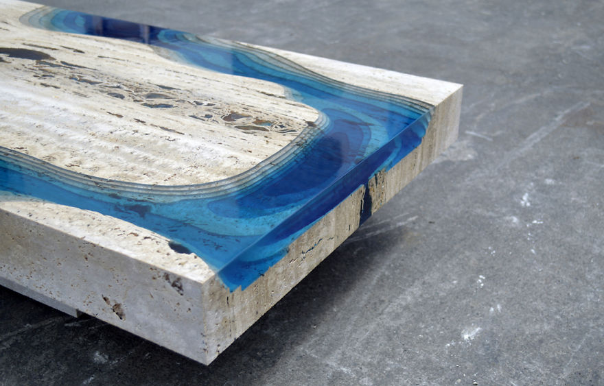 Lagoon Tables That I Create By Merging Resin With Cut Travertine Marble