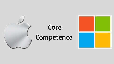 What is the Core Competence between Microsoft and Apple?