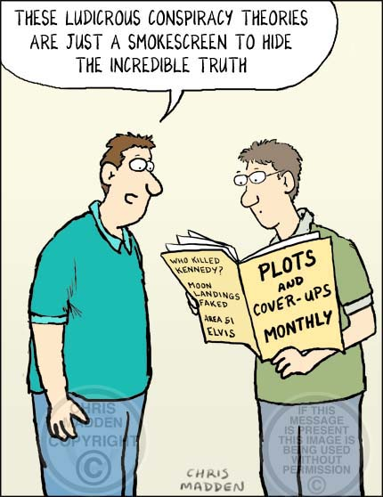 Conspiracy theory cartoon