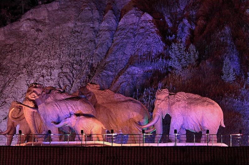 Real size mammoths in Archaeopark, Khanty-Mansiysk