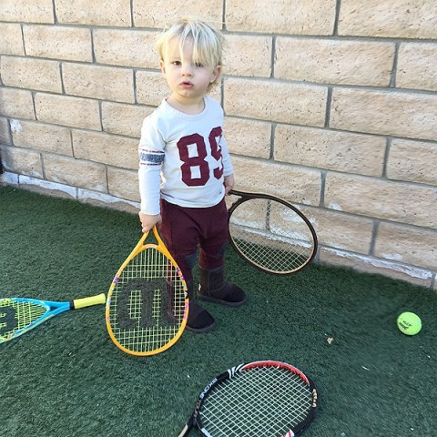 Jessica Simpson's Son Ace Tries His Hand at Tennis