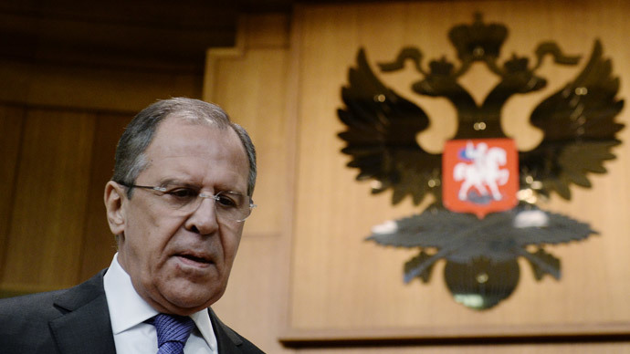 Russia's Foreign Minister Sergey Lavrov prior to the beginning of a press-conference summarizing the results of the Russian diplomacy in 2014.(RIA Novosti / Maxim Blinov)