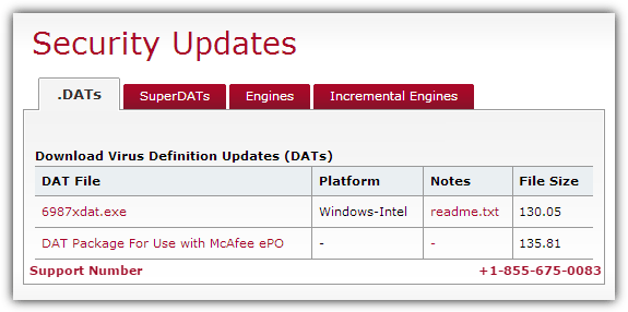 Antivirus Update: McAfee SuperDAT update 8350 Service