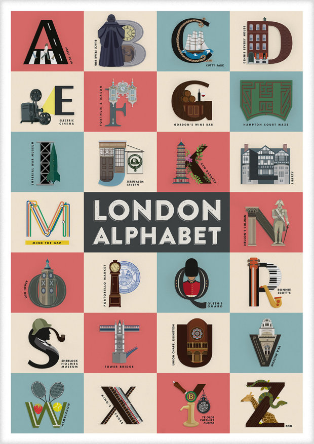 London from A to Z in an Alphabetical Poster by Fanakalo
