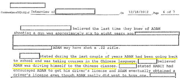 Adam Lanza Taking Chinese