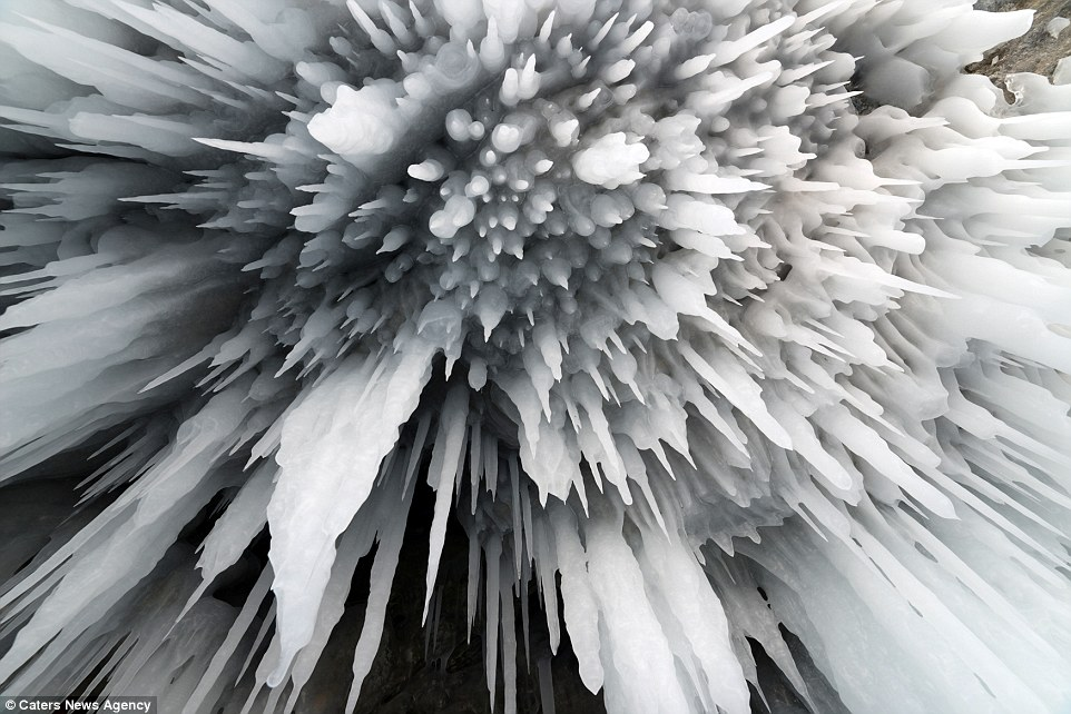 When the 35-year-old entered the frozen cave he found large ice stalactites, or icicles, descending from its ceiling