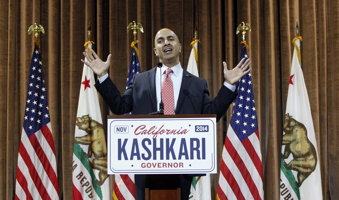 California Republican gubernatorial candidate Neel Kashkari speaks at a news conference on Wednesday, June 4, 2014, in the Corona Del Mar area of Newport Beach, California.  <div id=