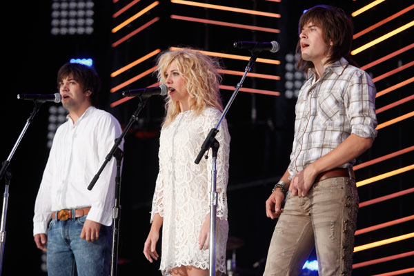 The Band Perry perform the national anthem at LP Field