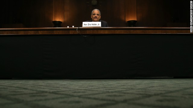 Holder testifies during a Senate Judiciary Committee hearing in January on oversight of the Justice Department and reform of government surveillance programs.