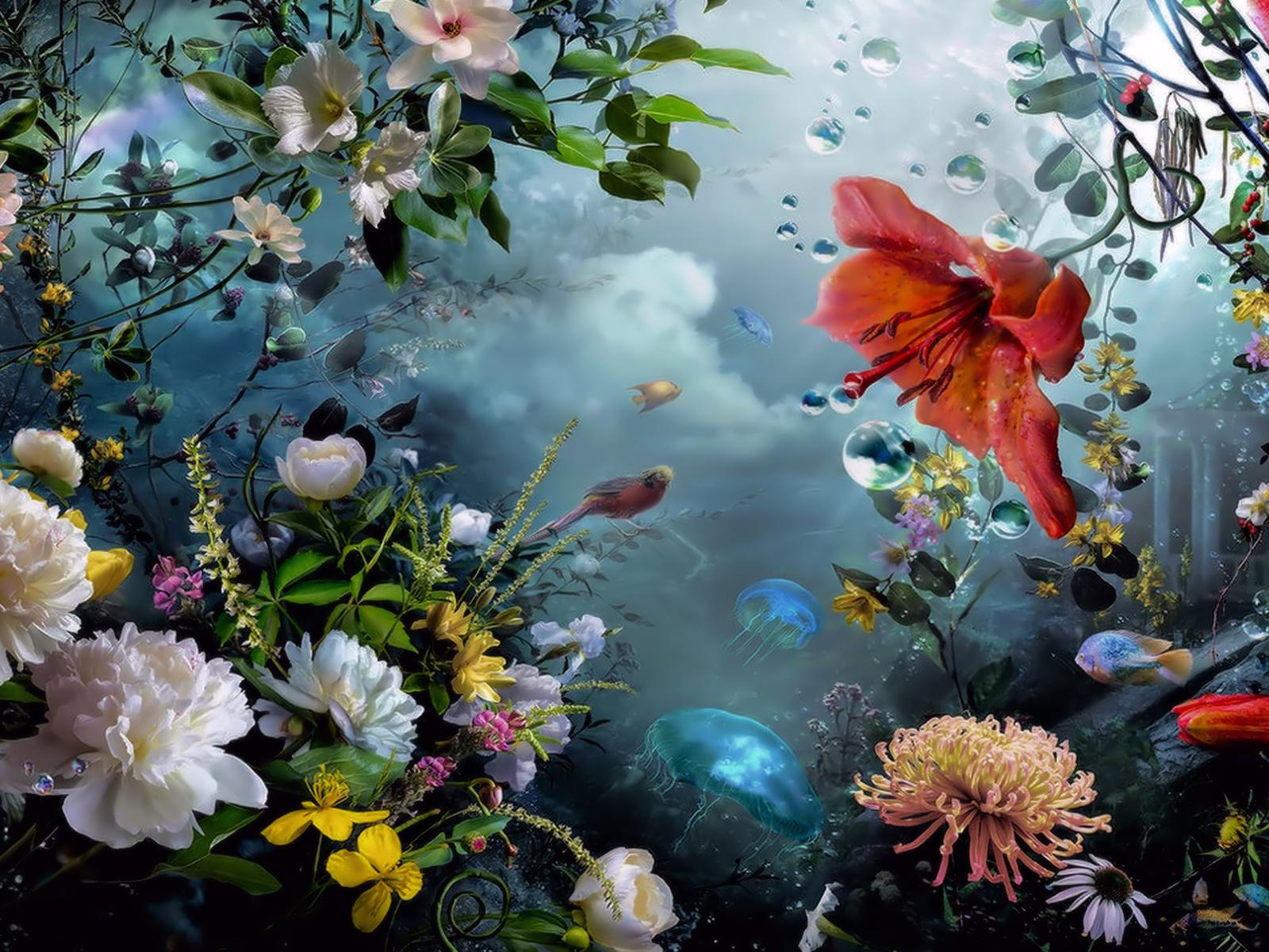 Открытки, цветы в картинках фэнтези