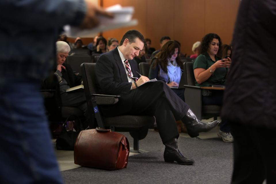Sen. Ted Cruz appears for jury duty at the Harris County Jury Summons on Friday, Jan. 9, 2015, in Houston.  Cruz says  this is the first time he's...