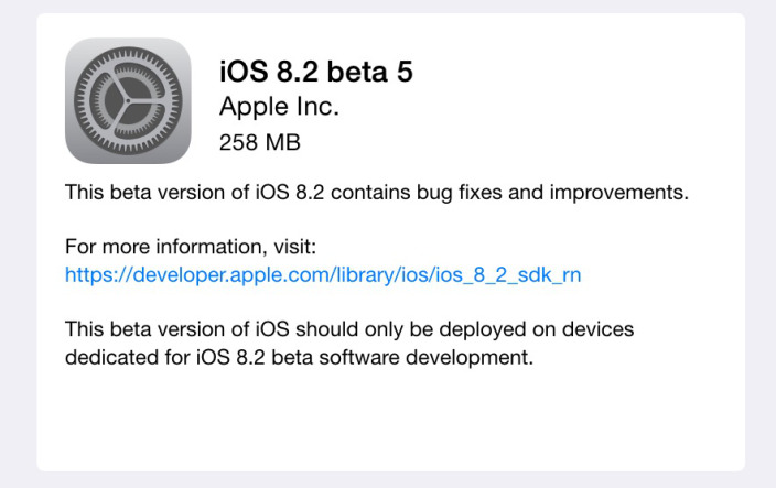 Apple seeds iOS 8.2 beta 5 to developers