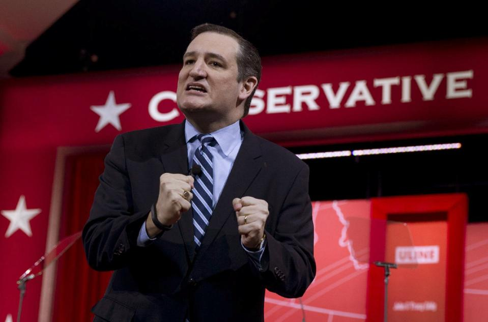 Sen. Ted Cruz, R-Texas, speaks during the Conservative Political Action Conference (CPAC) in National Harbor, Md., on Thursday, Feb. 26, 2015. (AP...