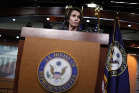 Pelosi holds a news conference about pending legislation regarding Department of Homeland Security funding, at the U.S. Capitol in Washington