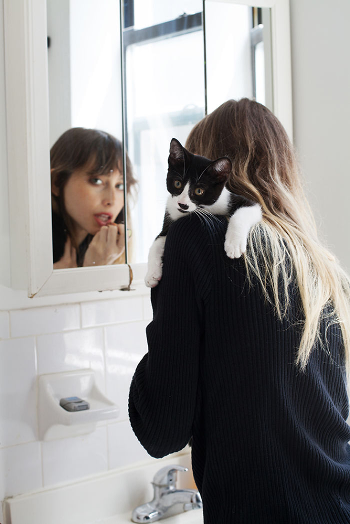 Girls And Their Adopted Cats