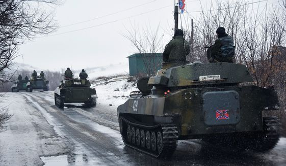 Russia is increasing military operations in eastern Ukraine, but the U.S. and NATO have not supplied urgently needed lethal weaponry to the Ukrainian army. Moscow has proposed restoring an agreed line of division to end an escalation of fighting. (Associated Press)
