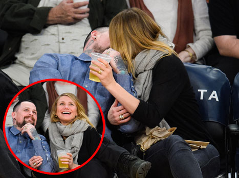 Cameron Diaz and Benji Madden Caught on Kiss Cam at Lakers Game