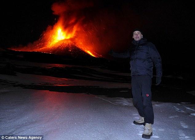 Photographer Marc Szeglat pictured one of the most active volcanoes, Klyuchevskoy
